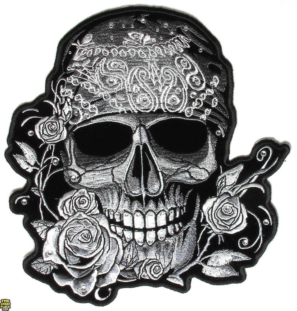 Gray Bandana Skull Patch With Roses and Rhinestones