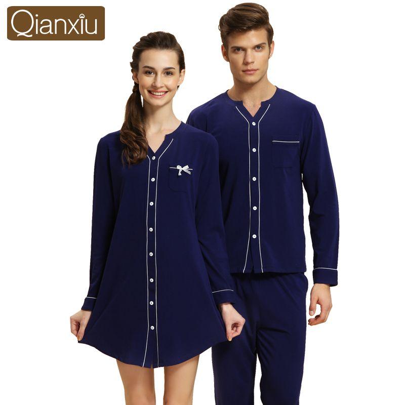 Qianxiu Brand Autumn Long Sleeve Couple Pajamas Sets Sleeping ...