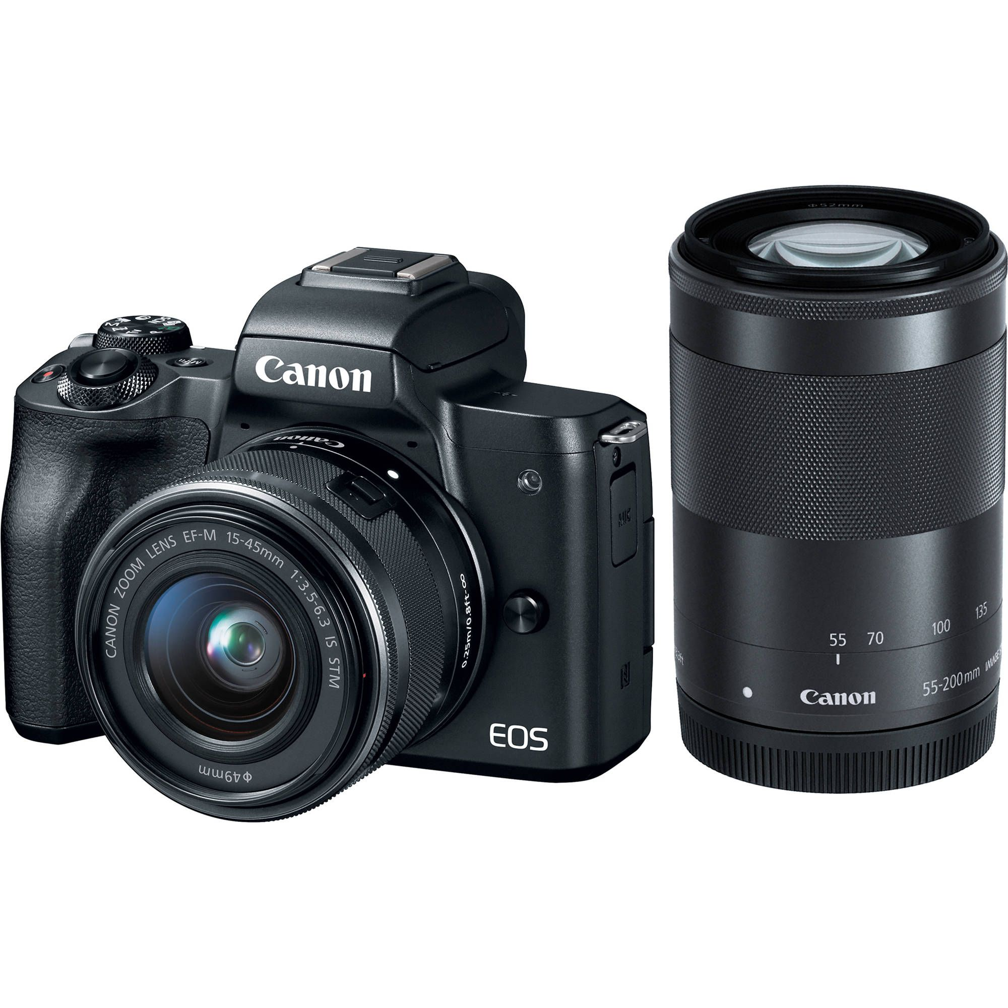 Canon Eos M50 Mirrorless Digital Camera With 15 45mm And 55 200mm Lenses Black Eos M50 Canon Eos M50 Mirrorless Camera