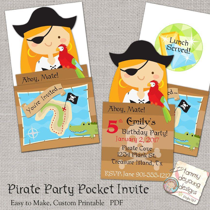 Girl Pirate Party Invitation, Printable Pirate Birthday Party Invite ...