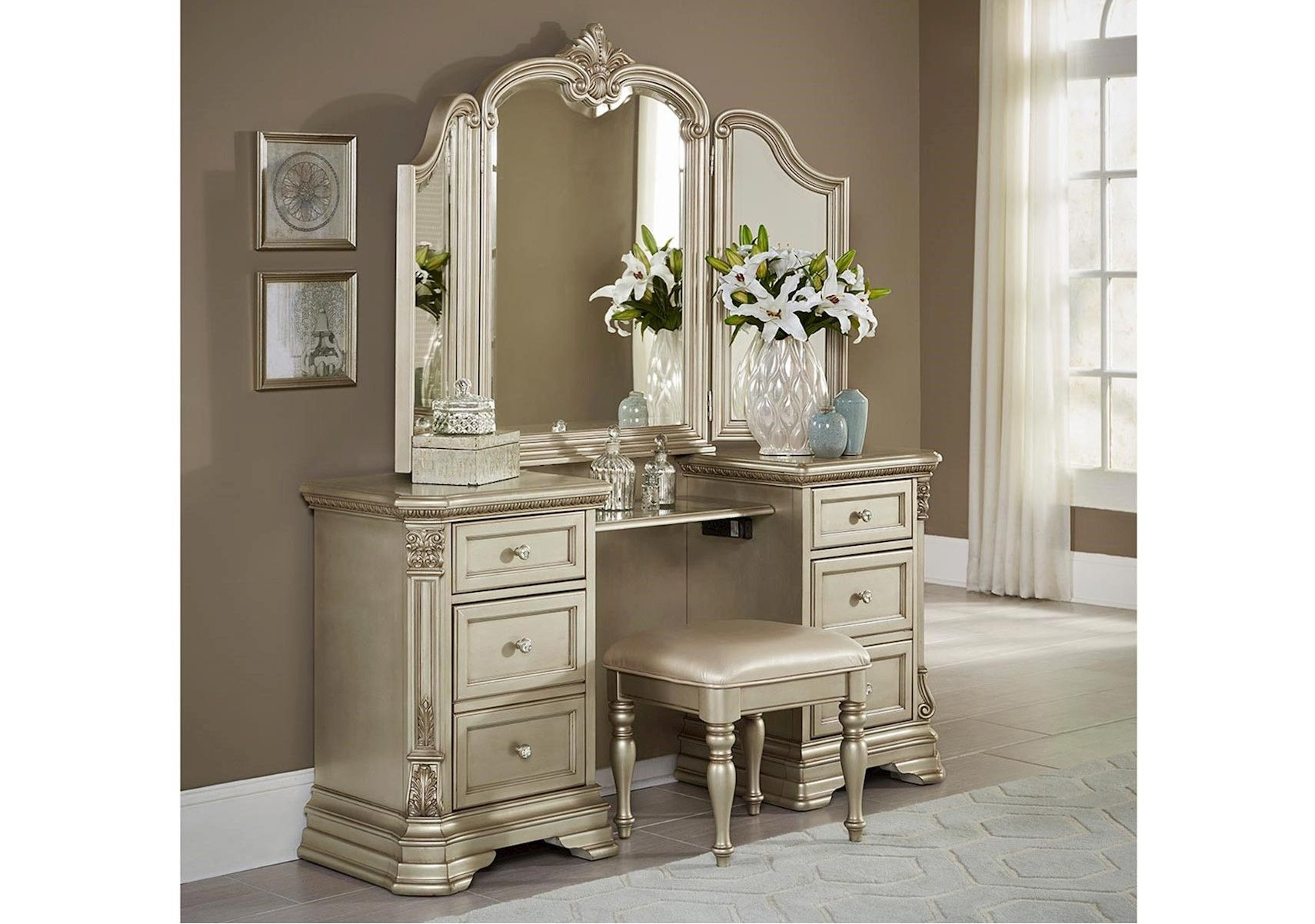 Lacks Monteria Vanity Set With Images Simple Bedroom