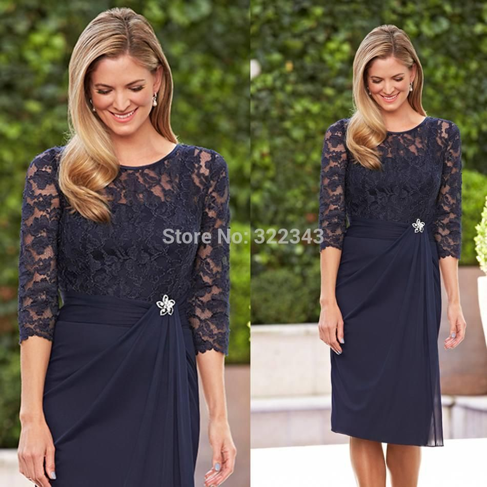 Lace Nail Quality Sheath Wedding Dress Directly From China Long Suppliers Hot Dark Navy Blue Plus Size Jewel Three Quarter