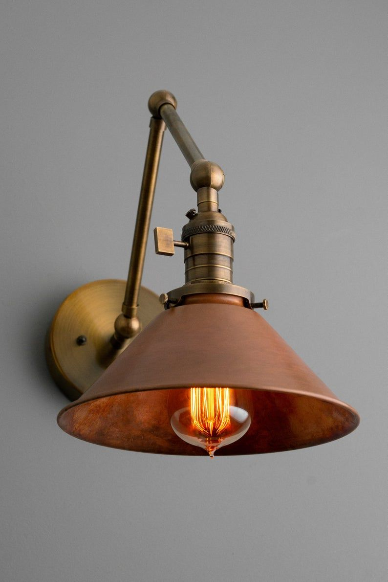 Articulating Copper Wall Sconce Rustic Lighting Swivel Etsy In 2020 Copper Wall Sconce Industrial Wall Lights Rustic Wall Sconces