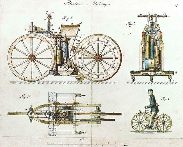 Reitwagen First Bike Gottlieb Daimler Wilhelm Maybach 1885