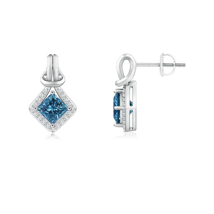 Angara Princess Enhanced Blue Diamond Basket Stud Earrings Yellow Gold IUOd6DqN