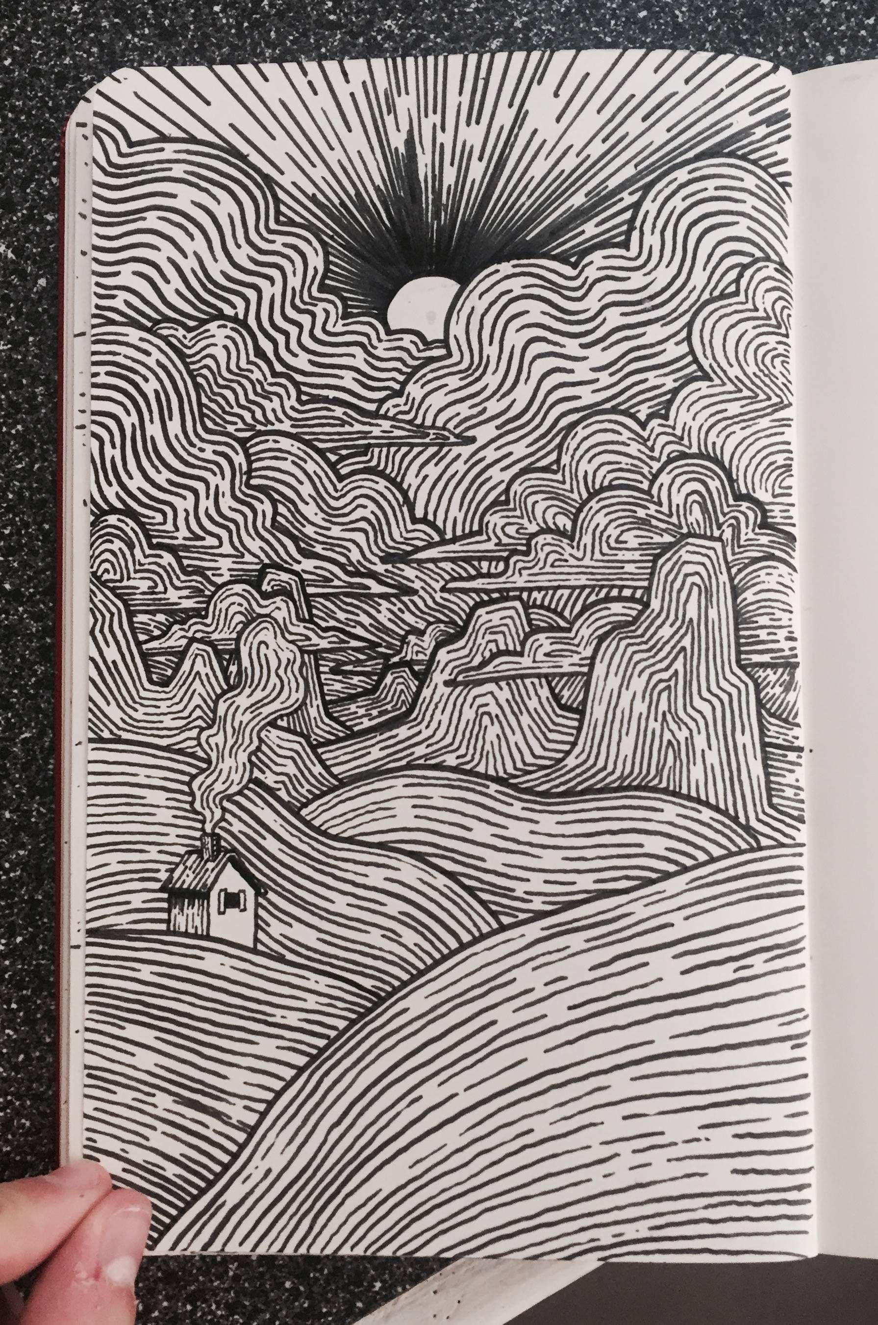 Linescape Brushpen 5x8 Pen Art Drawings Ink Pen Art Pen Art