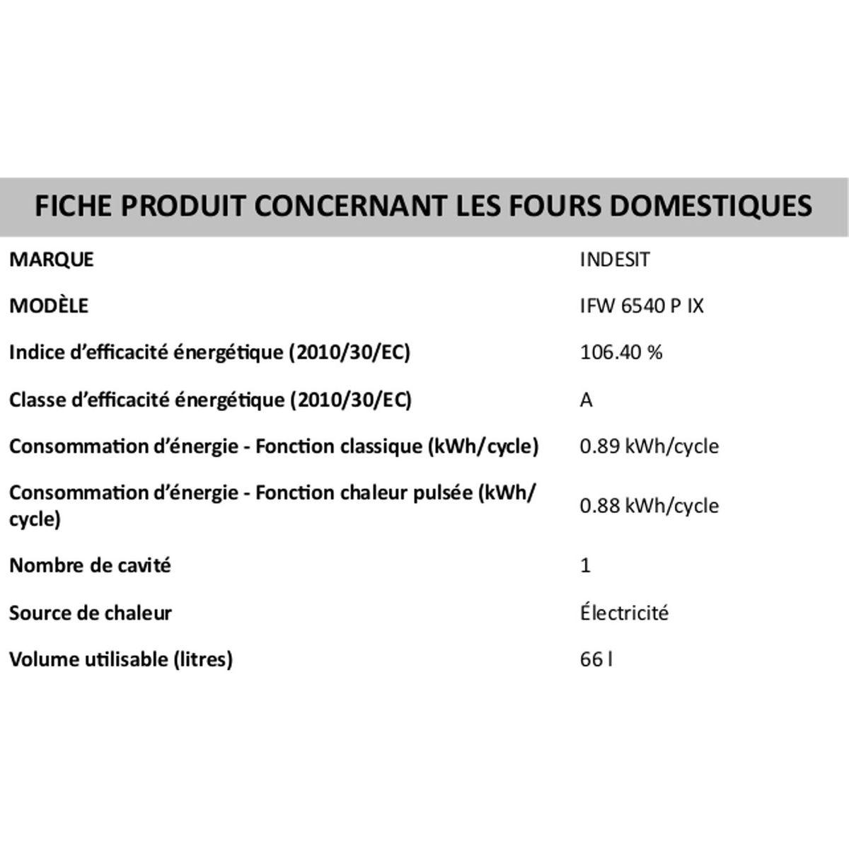 Four Ifw 6540 P Ix Inox Four Encastrable Mode De Cuisson Cavites
