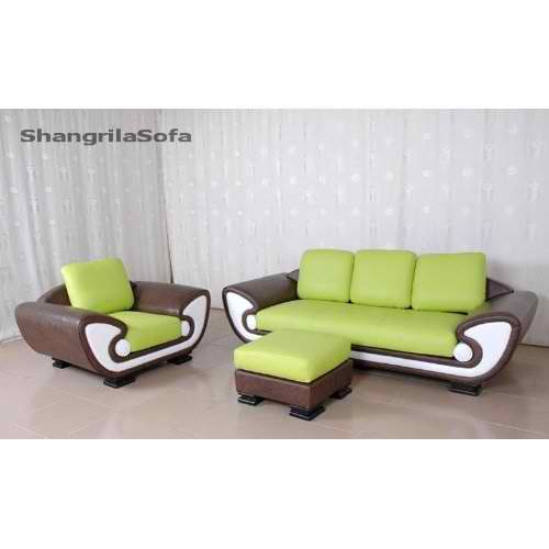 970 S Style Brown And Lime Green Leather Sofa Set By Shangrila