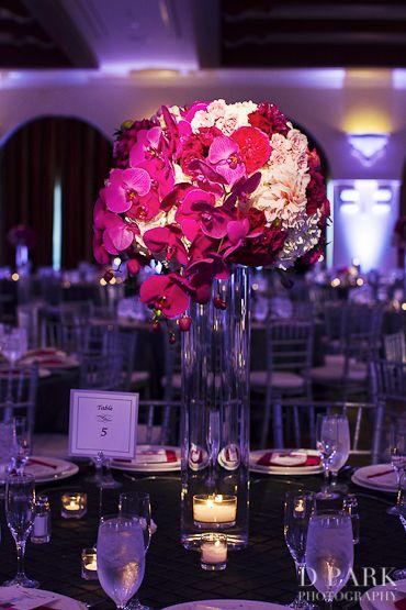 10 Pink Fuschia White Wedding Reception Centerpieces