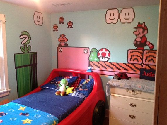 TWO 8ft SHEETS of Nintendo Vinyl Wall Stickers - Super Mario Bros. 3 NES graphic high quality awesomeness