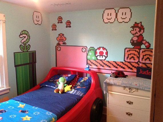 TWO 8ft SHEETS of Nintendo Vinyl Wall Stickers - Super Mario Bros. 3 ...