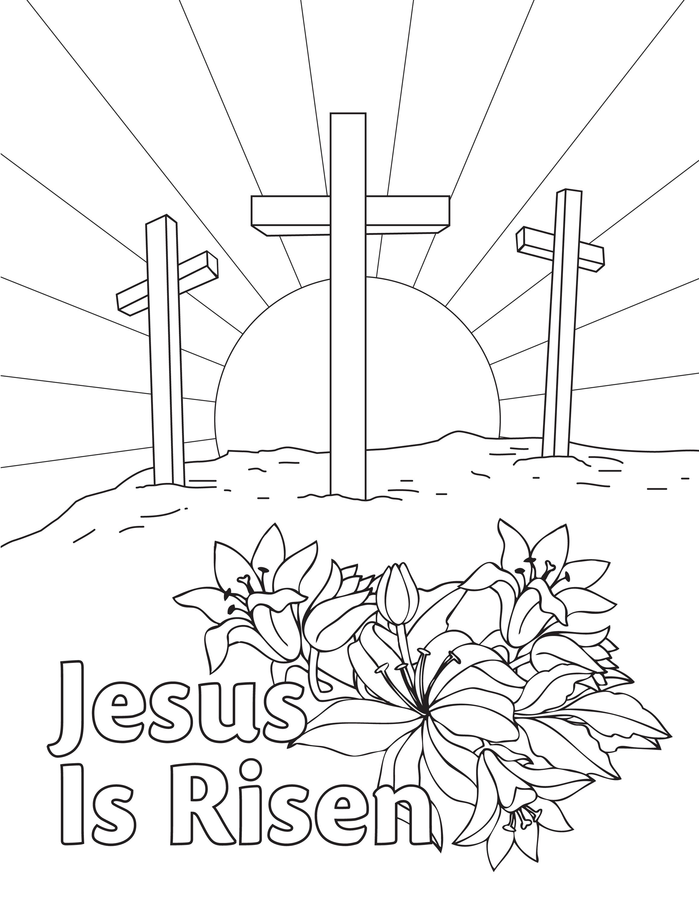 Free Easter Coloring Page Downloadable Printable From Aop Jesus Is Risen Homeschooling Jesus Coloring Pages Easter Coloring Sheets Free Easter Coloring Pages