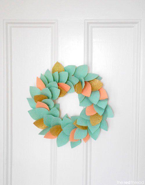 tutorial corona de navidad con hojas pastel