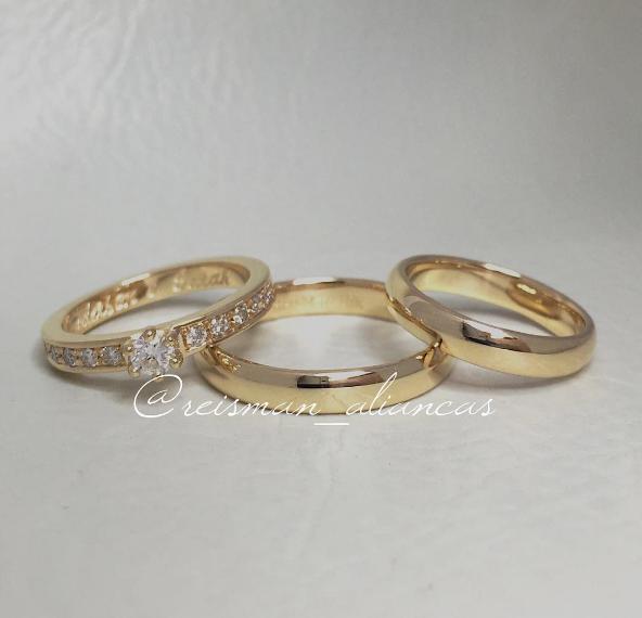 Par de Alianças Tradicionais ♥ Casamento e Noivado em Ouro 18K - Reisman 2020d03b23