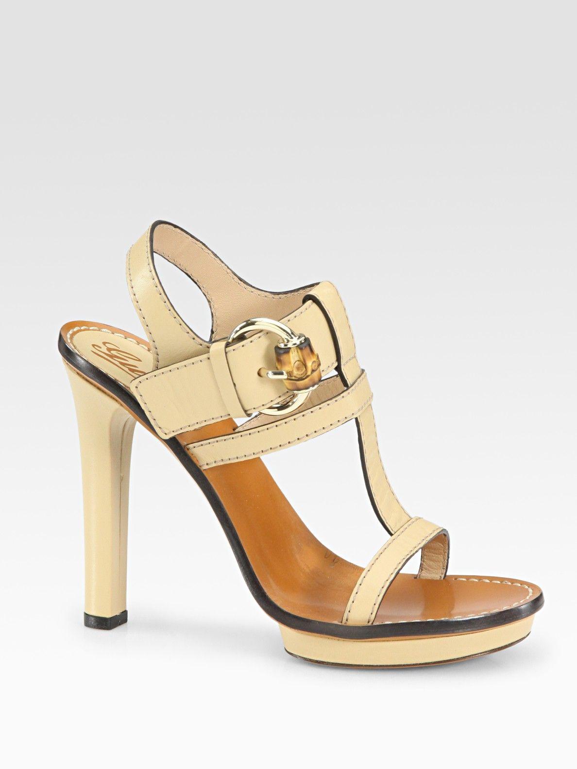 654ff687156 Gucci Gwen Leather Tstrap Platform Sandals in Beige (powder)
