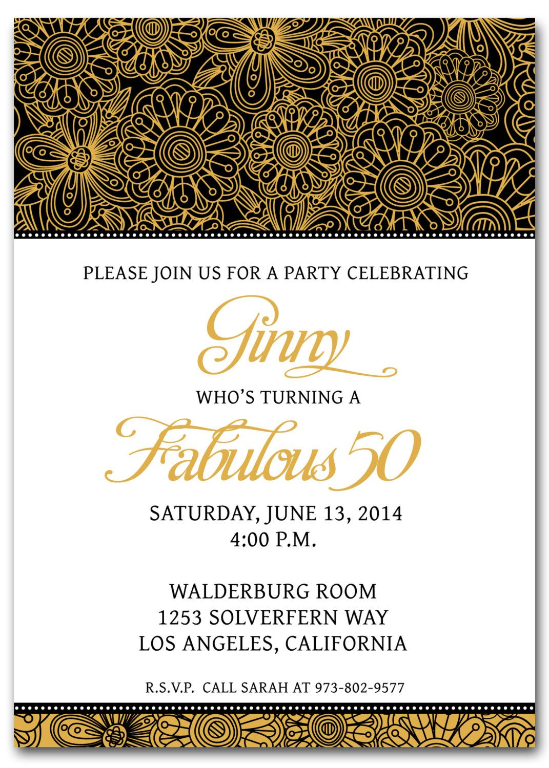 50th Birthday Invitations Free Printable