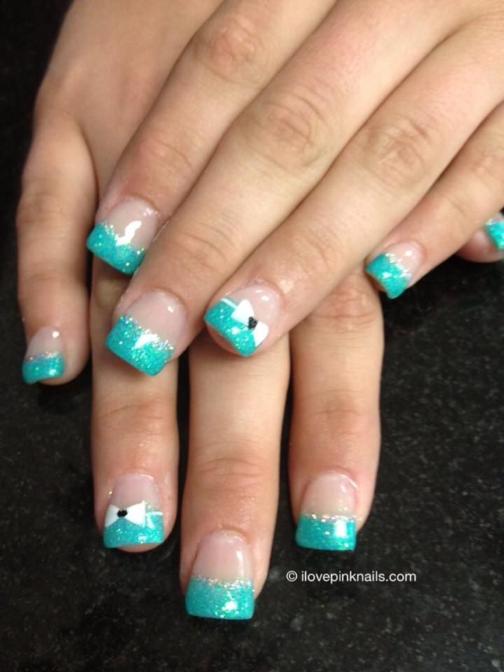 Turquoise French and Bow Nails | nails | Pinterest | Turquoise ...