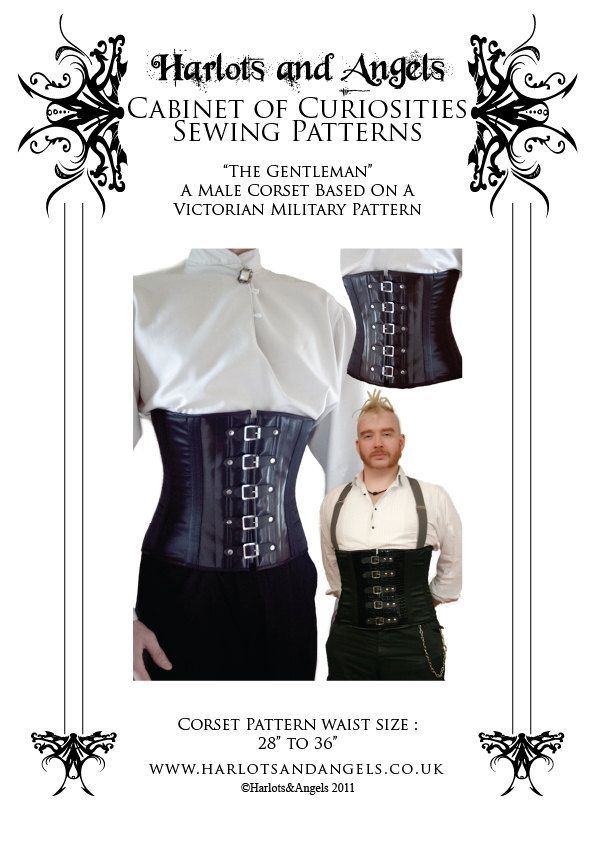 Gentleman\'s Victorian military corset Sewing Pattern 28 - to 36 ...