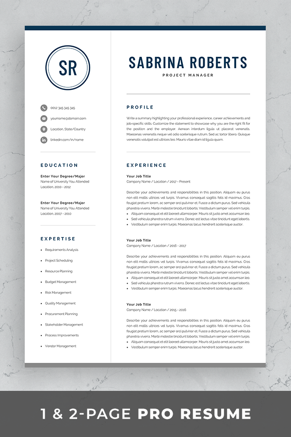 Professional 1 Page Resume Template Modern One Page Cv Etsy In 2020 Resume Template Professional Resume References Cv Template