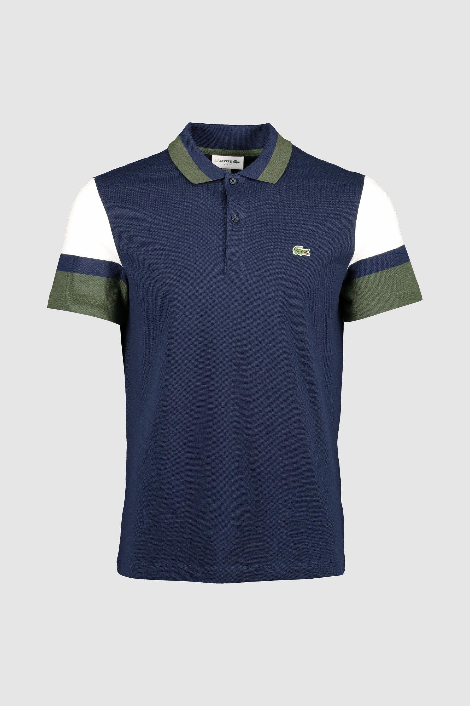 Mens Lacoste Colourblock Green Polo - Blue | Polo shirt design ...