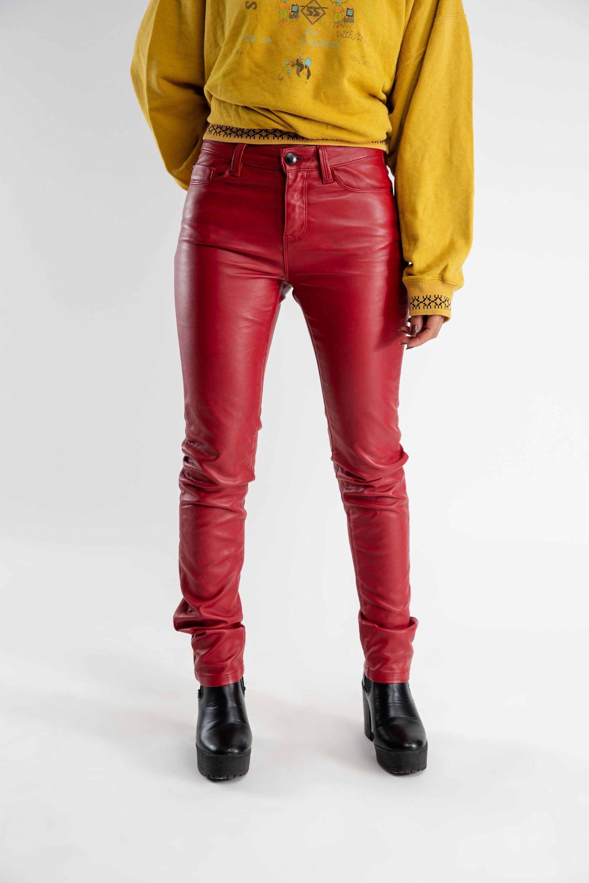 26360980e966f Vintage red faux leather trousers / Women's vegan leather pants / Vintage  plastic trousers / Red latex pants / 90s PVC trousers / Size XS/S by LHITW  on Etsy ...