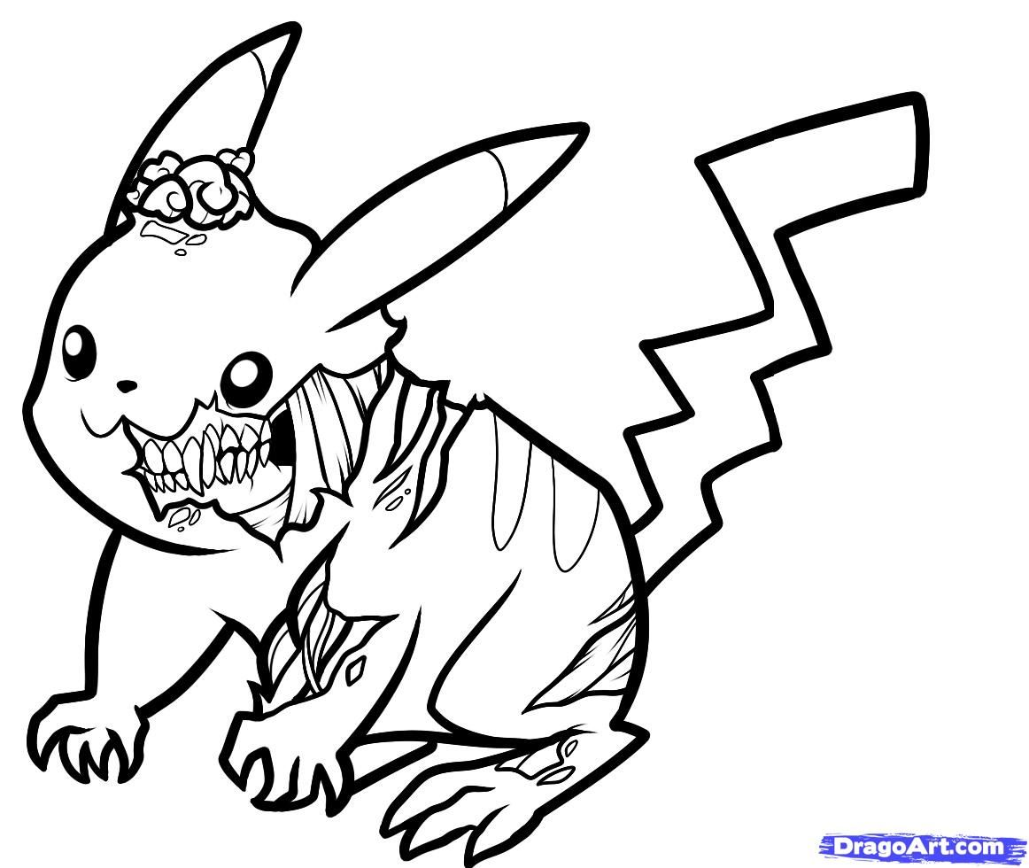 Pikachu Coloring Pages Zombie Pikachu Drawing Drawing And Coloring