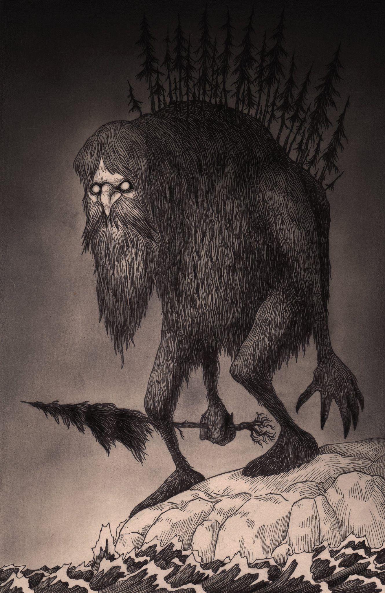 John kenn - Illustration - Monster - Man in the mountain.