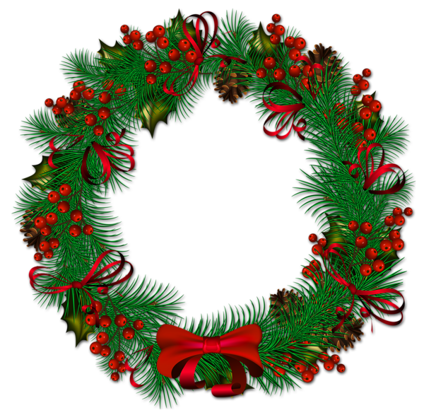 Transparent_Christmas_Pinecone_Wreath_with_Red_Ribbon ...