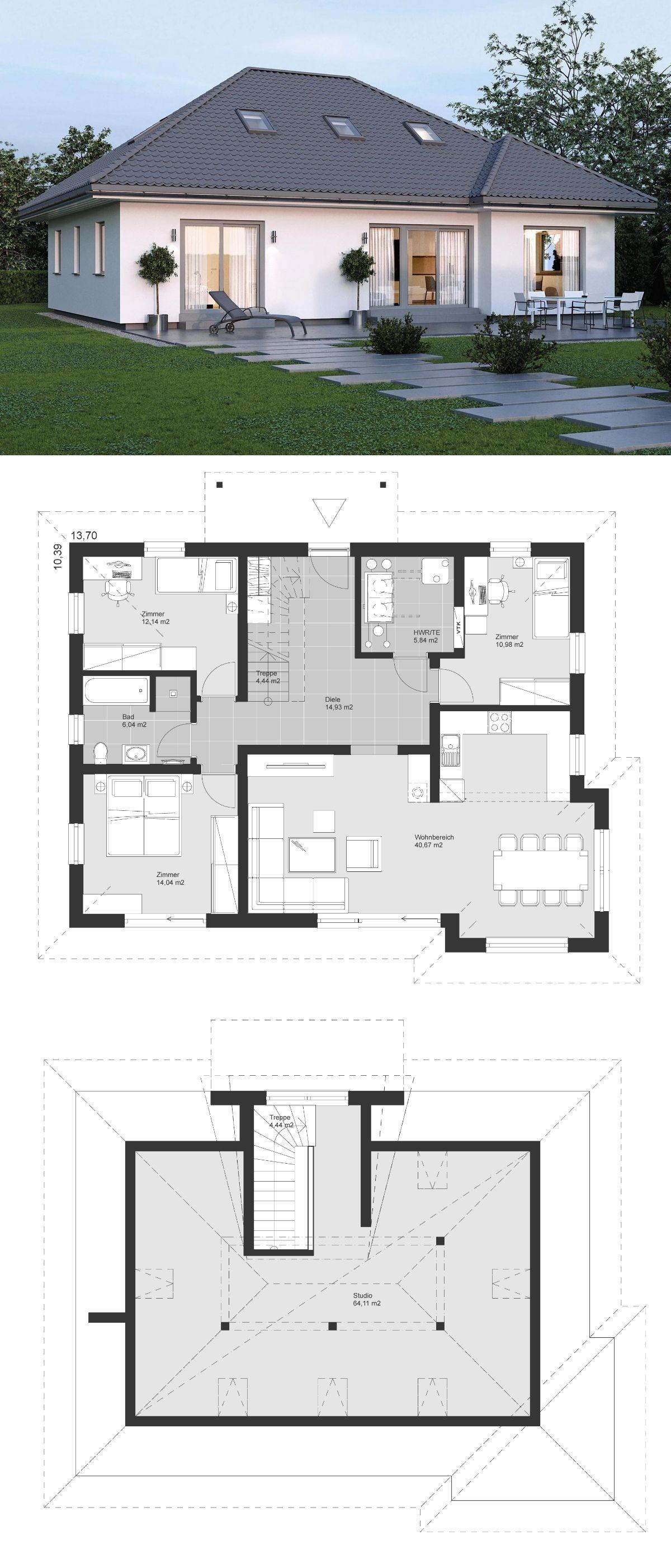 Bungalow Haus modern mit Walmdach Architektur & 5 Zimmer