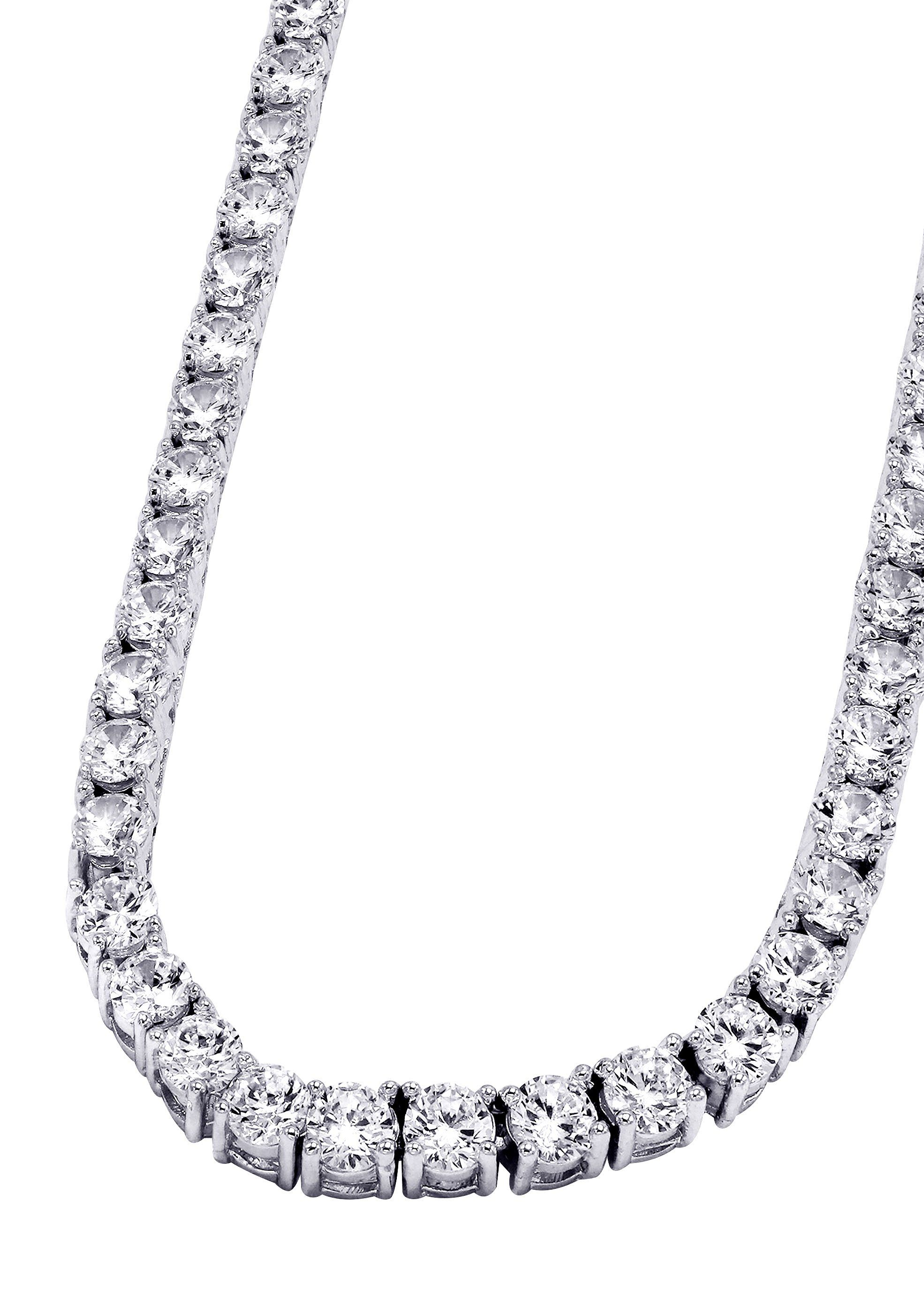 14k White Gold Mens Tennis Chain Diamond Chains For Men Mens Diamond Necklace 14k White Gold Chain