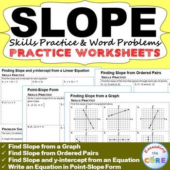 SLOPE & y-INTERCEPT Homework Worksheets: Skills Practice