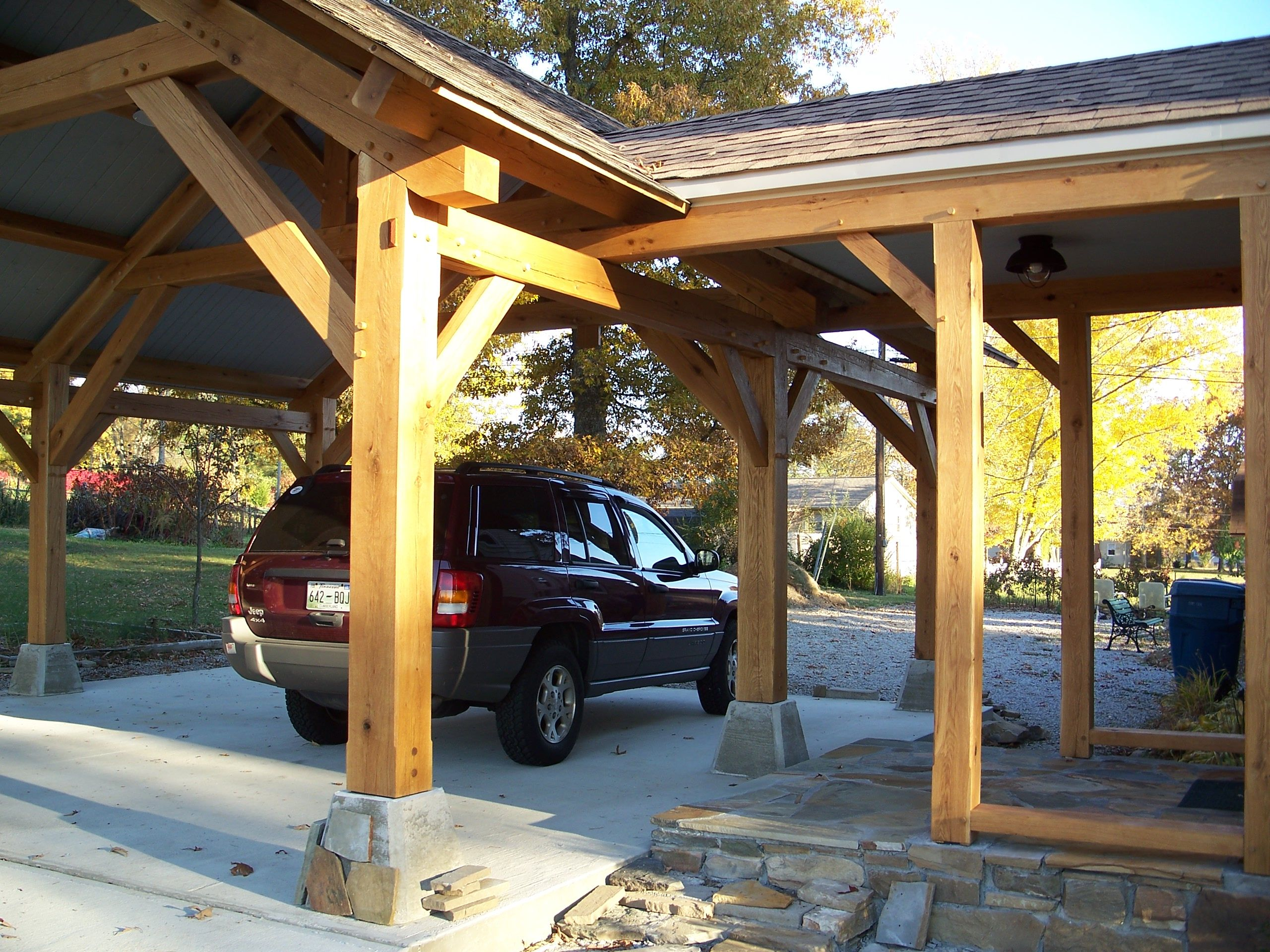 Outdoor Living - Timber Frame Pavilion - Timber Frame Porte-Cochere ...