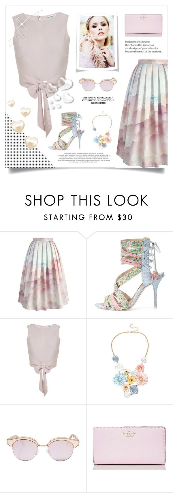 """""""PINK HEART"""" by paradiselemonade ❤ liked on Polyvore featuring Chicwish, Sophia Webster, Miss Selfridge, Mixit, Le Specs, Kate Spade and Valentino"""