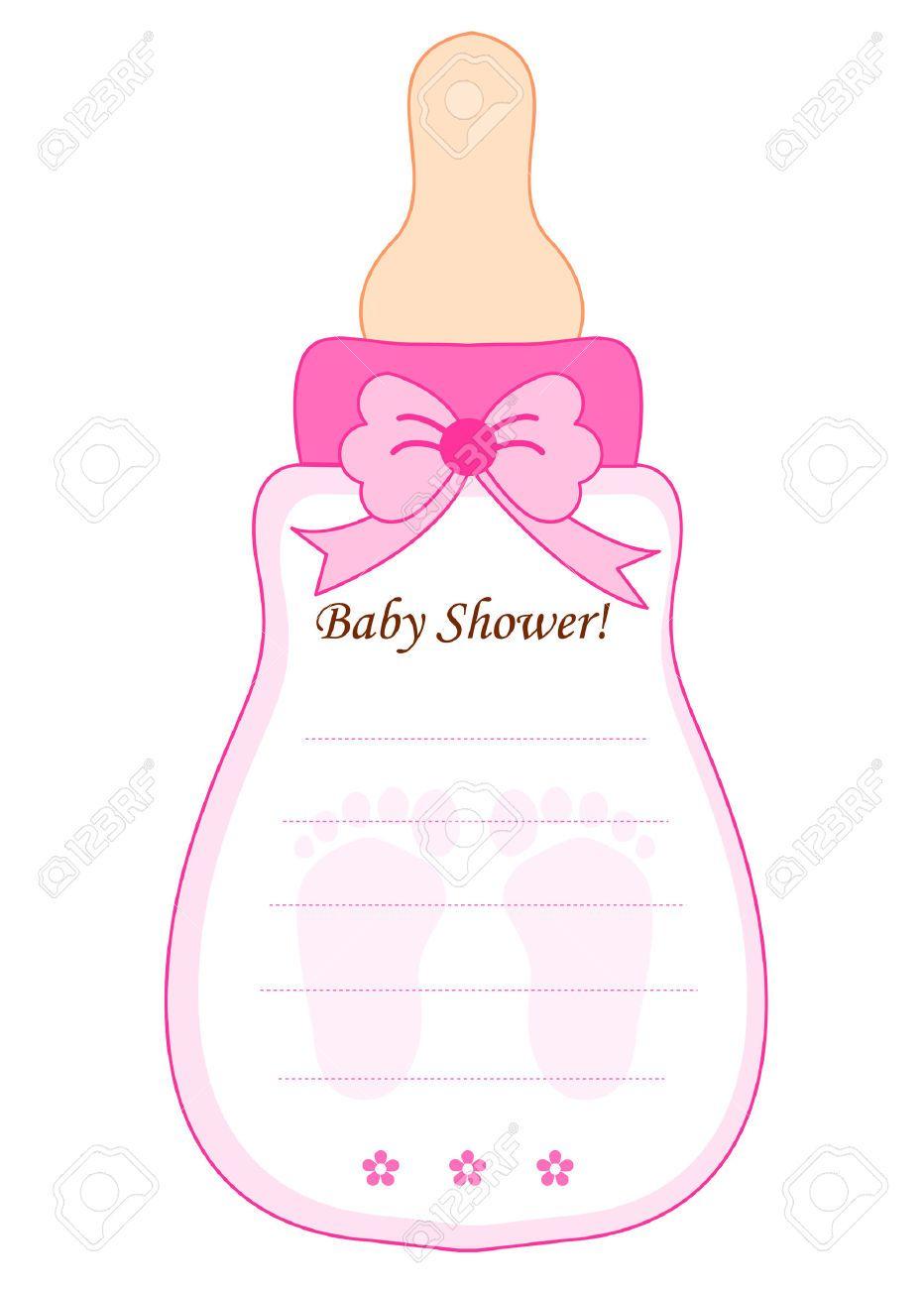 Cute Feeding Bottle Shaped Baby Shower Invitation Card