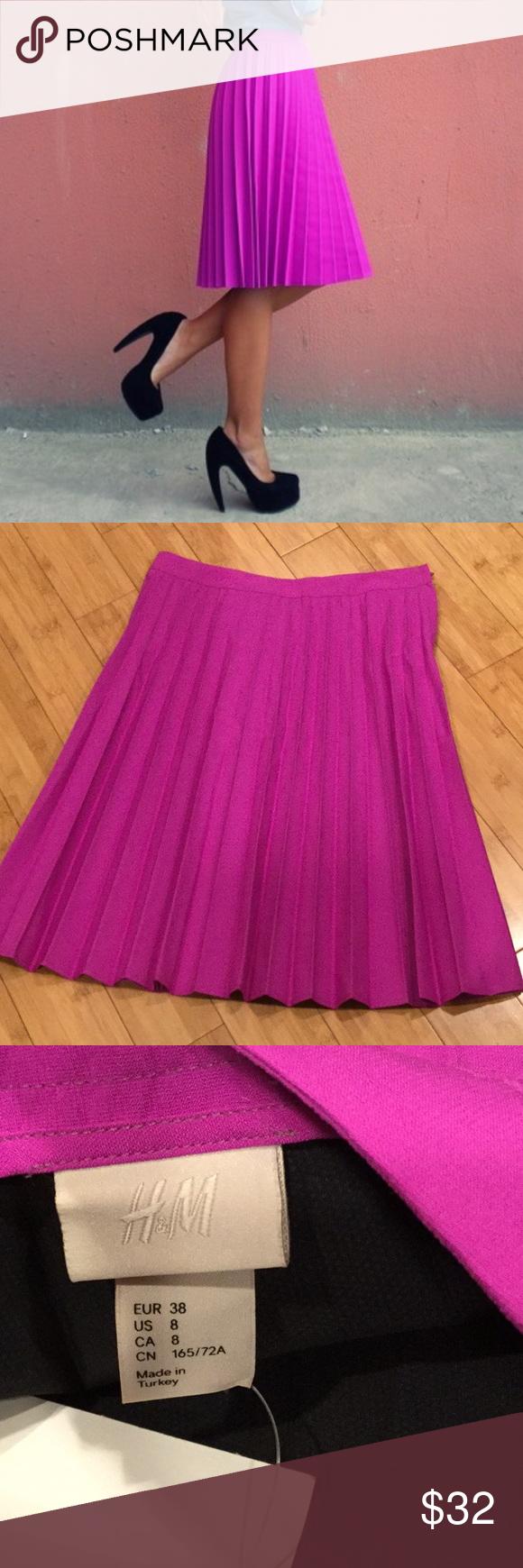 H&m pink pleated dress  HuM pleated skirt Sz  NWT