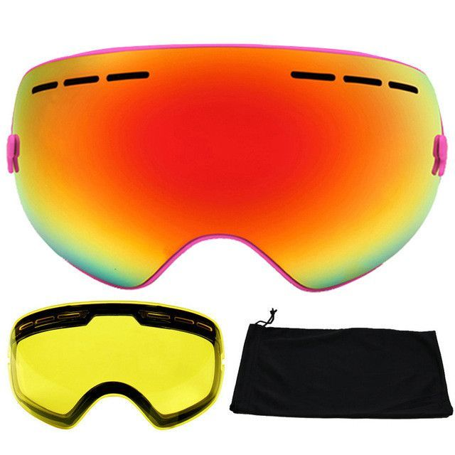0a6cb28a713c LOCLE Brand Ski Goggles Double Lens UV400 Anti-fog Large Spherical Skiing  Glasses Masks Snowboard Goggles Night Lens 2 Lens