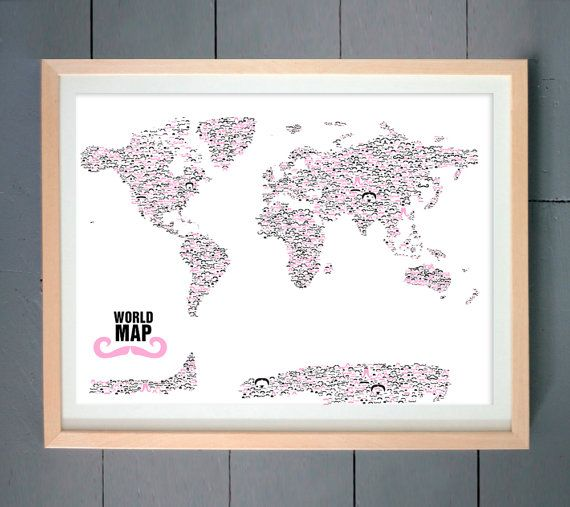 Moustache World Map made with various Moustache  Pink and black