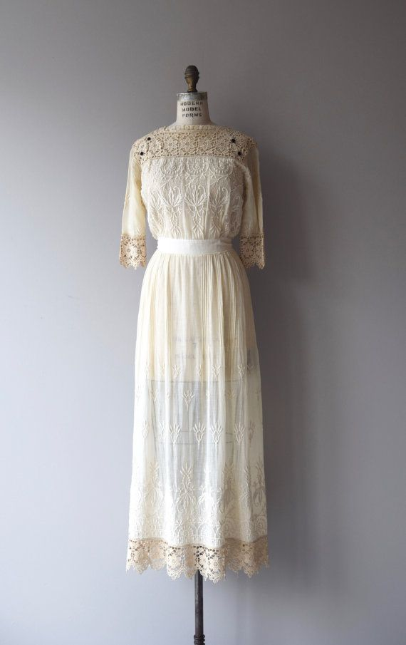 Tullannah wedding dress | antique 1910s dress | lace Edwardian dress ...