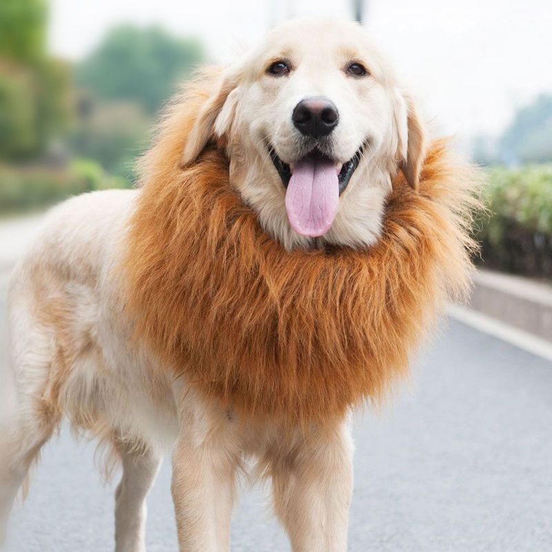 Cute Pet Costume Lion Mane Wig For Dog Halloween Festival Party