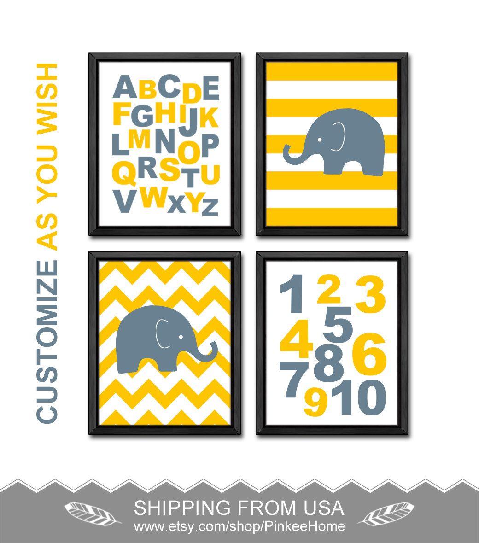 custom kids playroom decor elephant boy nursery prints alphabet ...