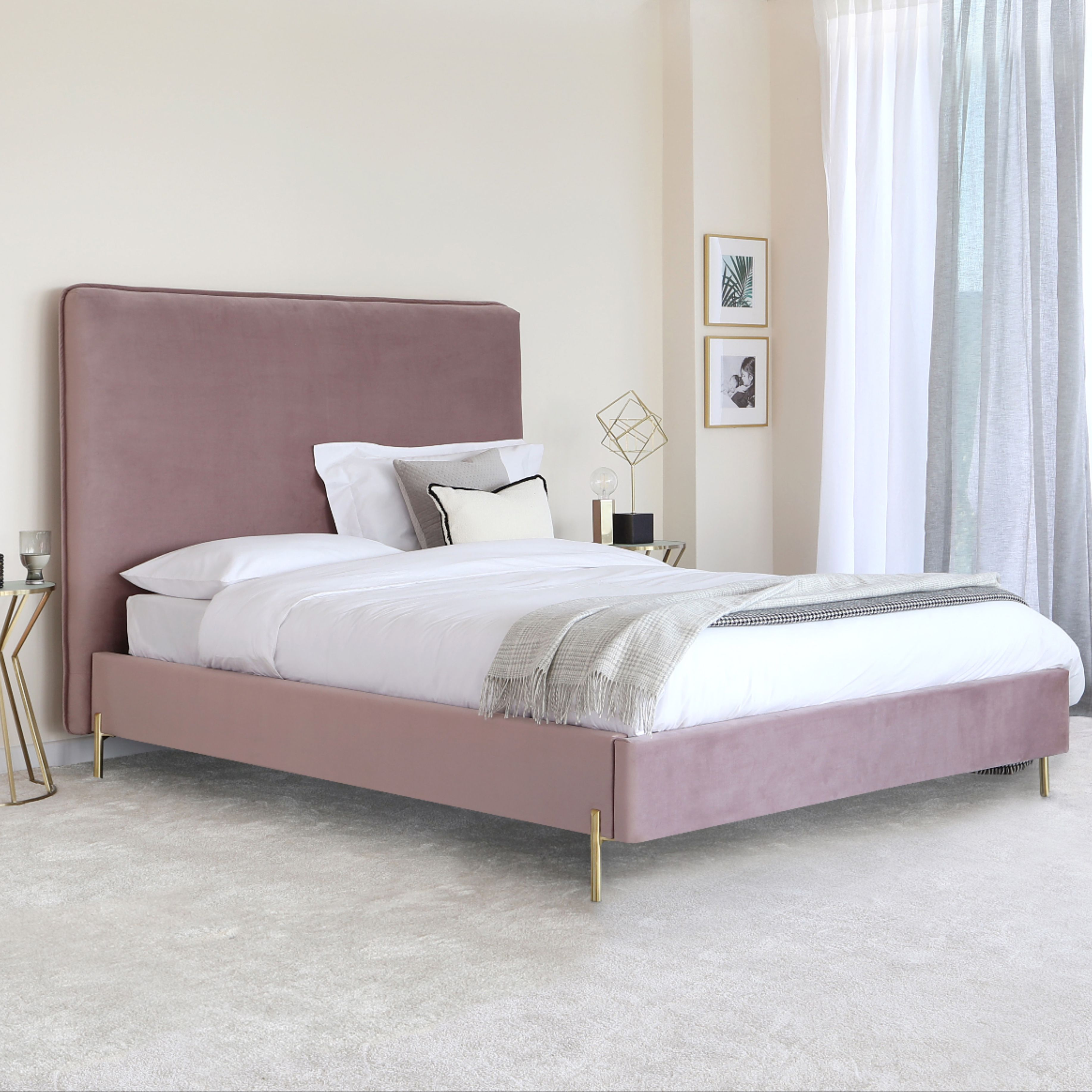 £439 The Darcy Blush Pink Velvet King Size Bed is a