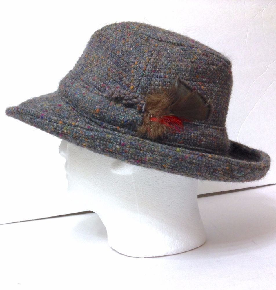 VTG Ireland Hanna-Hats-Donegal Mens GRAY WOOL TWEED BRIMMED FEDORA BUCKET  Medium  HannaHatsofDonegal  FedoraTrilby 3ad68a45422