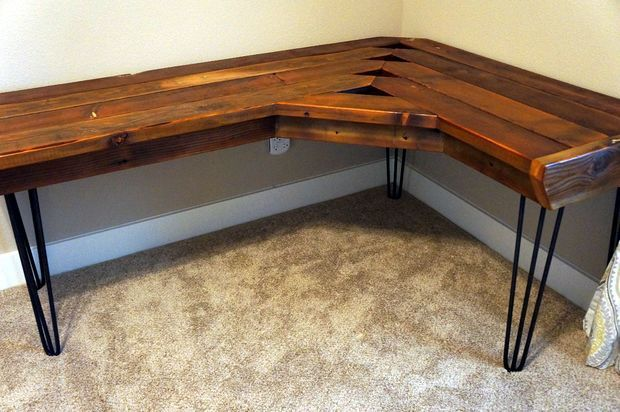 Reclaimed Corner Desk Wood Corner Desk Wooden Corner Desk Diy