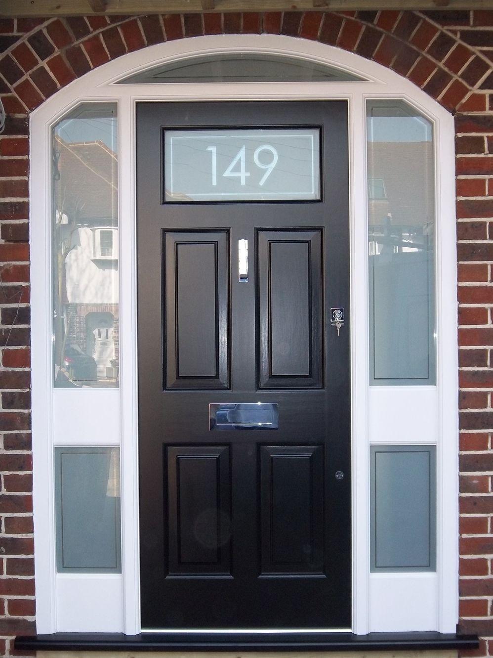 Front Door Frosted Glass Number External Doors Exterior Doors