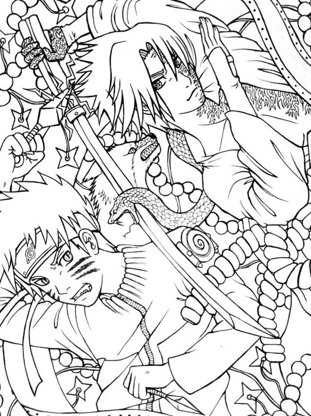 printable naruto shippuden vs sasuke final battle coloring page