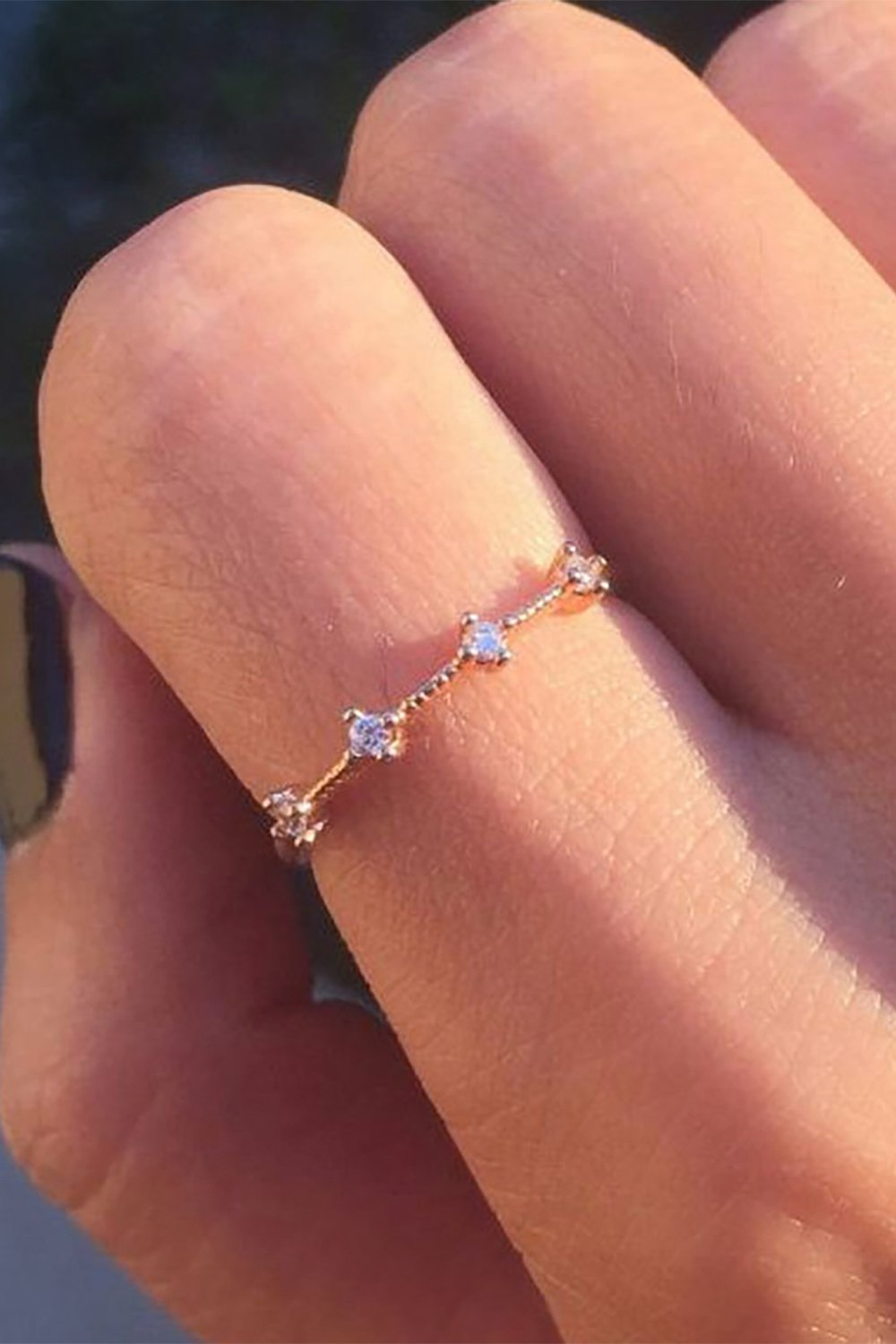 Rem Small Simple Dainty Minimalist Crystal Solitaire Ring