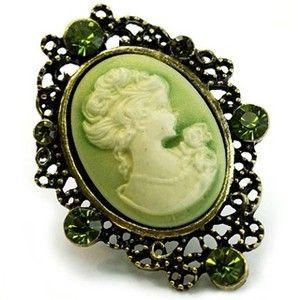 Green Crystal Cameo Brooch