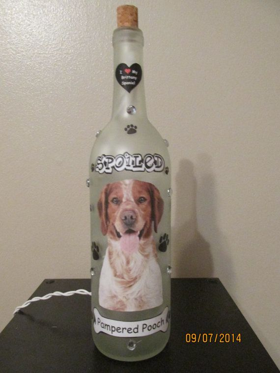Your Place To Buy And Sell All Things Handmade Brittany Spaniel Pampered Pooch Wine Bottle