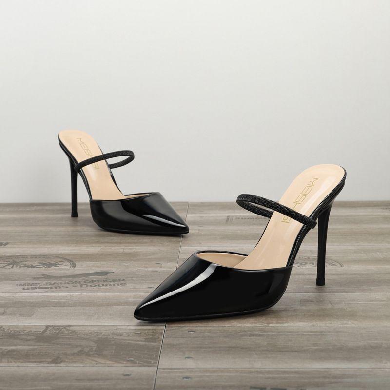 Eenvoudige Zwarte Toevallig Sandalen Dames 2020 Lakleer 10