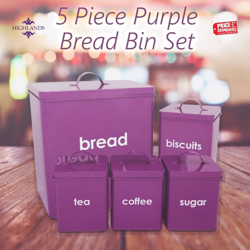 Purple Kitchen Canisters Set Bread Bin Tea Coffee Sugar Biscuit 5 PC  Storage Jar #Highlands